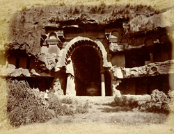 Exterior view of the Buddhist Chaitya Hall (Cave XII) and adjoning Vihara, Bhaja Caves, Pune District 589